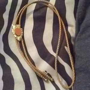 Other - Arrow head and gem stone leather tie